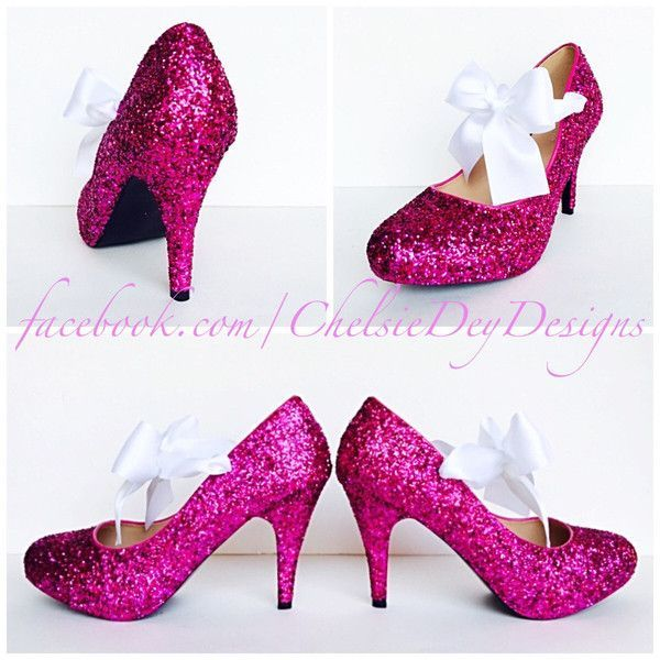 Glitter High Heels Hot Pink Pumps Sparkly Platform Shoes White Satin... ($70) ❤ liked on Polyvore featuring shoes, pumps, silver, women's shoes, silver pumps, silver glitter pumps, hot pink platform pumps, white high heel pumps and glitter pumps