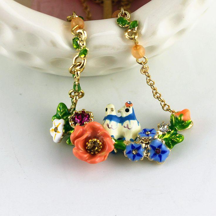 XQ Бесплатная доставка 2015 Эмаль пастырской пару Птицы Цветы простые длинные и короткие колье ожерелья для женщин