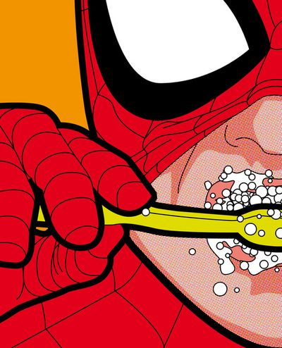 Spiderman brushing his teeth. See, even superheros do it! Cute for little boys bathrooM! #grindentistry