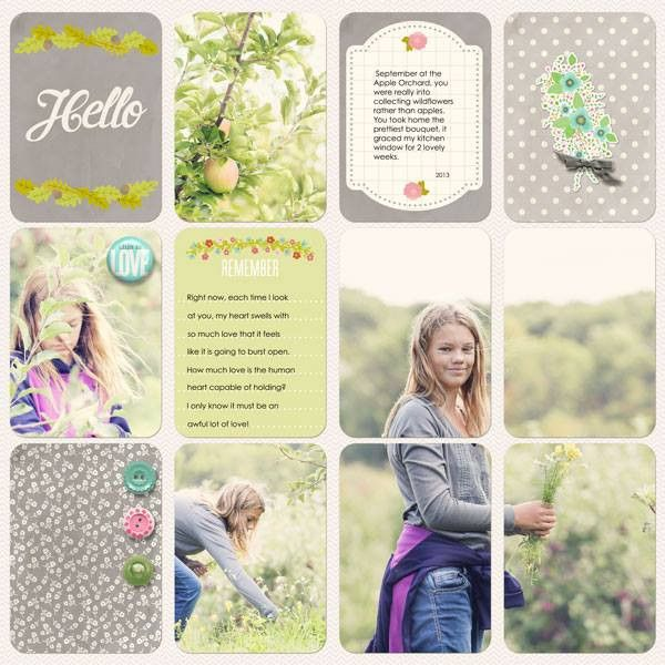 Love the Layout on picture 4 pockets Becky Higgins Project Life - Floral Theme Pack | digitalprojectlife