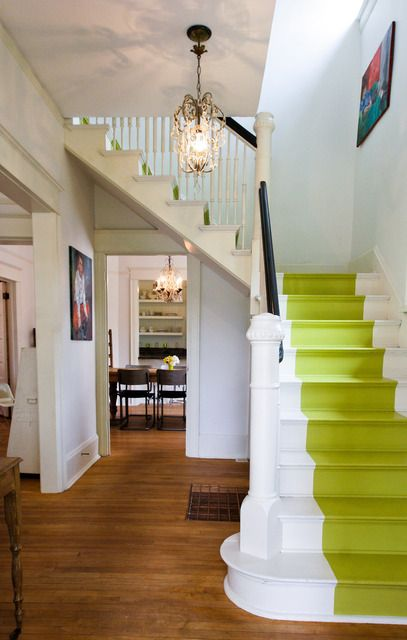 Love the painted stairs.  Plus - like this as a look for the house entrance - keeps a bit of a hall and the rest seems wider.
