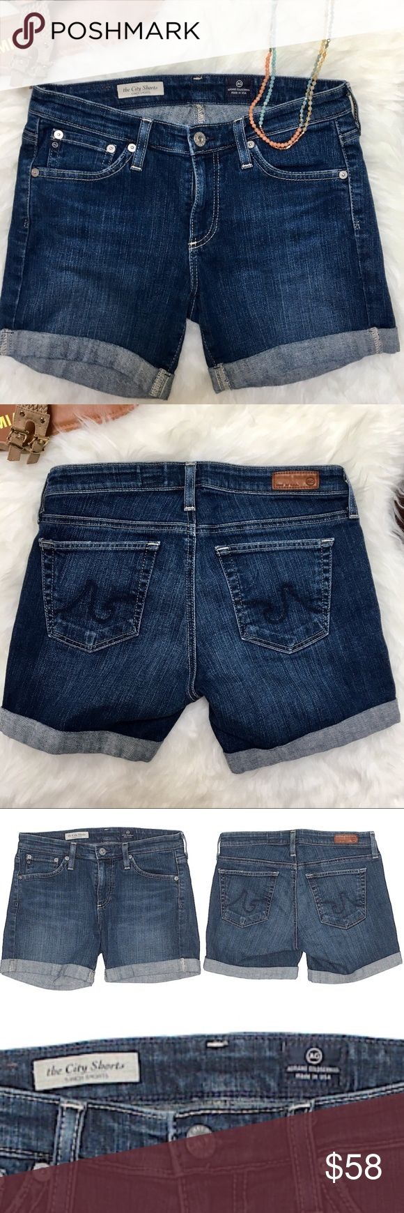 """AG Cuffed Jean City Shorts Sz 27 AG Cuffed Jean City Shorts Sz 27  Low Rise Medium Wash Denim, cuff is sewn in place, denim purposely faded slightly with whiskers on top of thigh  5"""" Inseam, 8"""" Rise  EUC, Looks new; no pulls, rips, stains, fraying Ag Adriano Goldschmied Shorts Jean Shorts"""