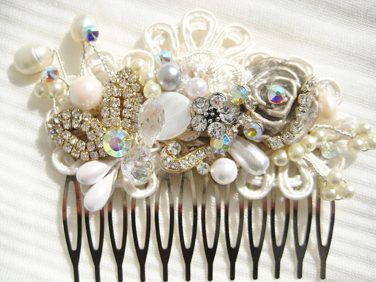 Bridal Hair Comb or Clip in Ivory with Rhinestone, Pearls, Crystal- Vintage Hair Piece- Wedding Hair Accessories- Fascinator. $56.00, via Etsy.