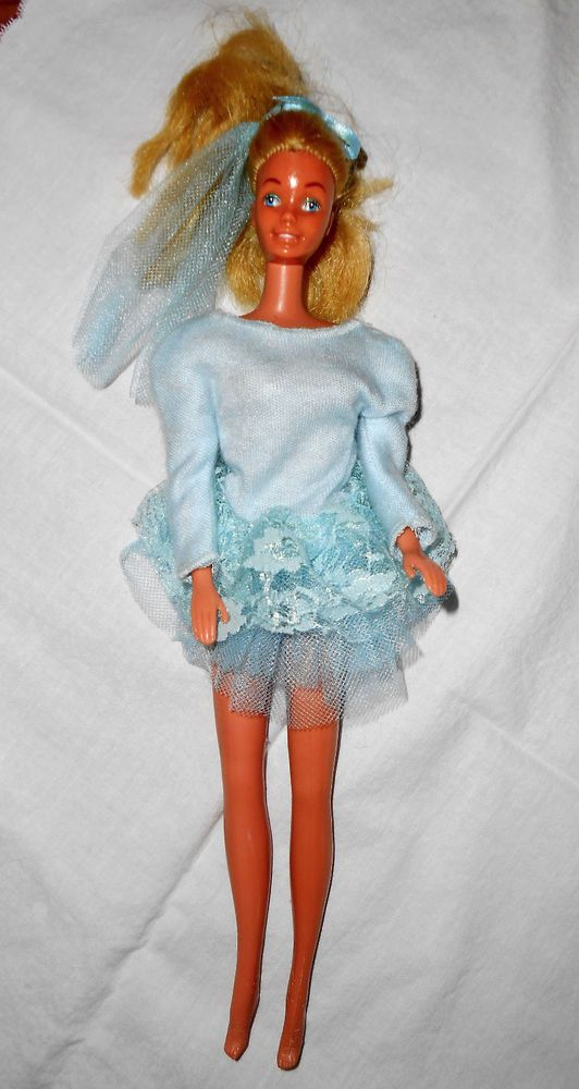 Vtg 1966 Barbie Matel Blond Pony Tail Skater? Doll Orig Blue Costume Exc Cond