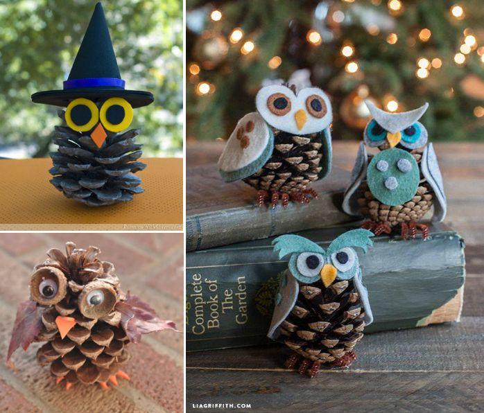 Owl Pine Cone Ornaments
