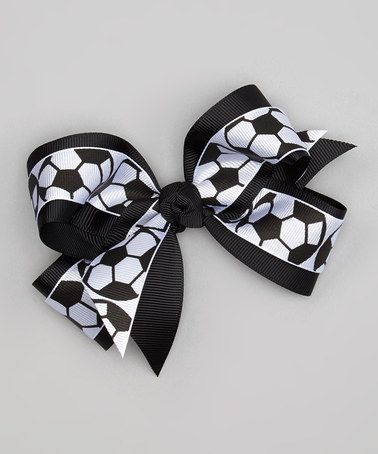 Picture Perfect Hair Bows Black & White Soccer Ball Overlay Bow Clip