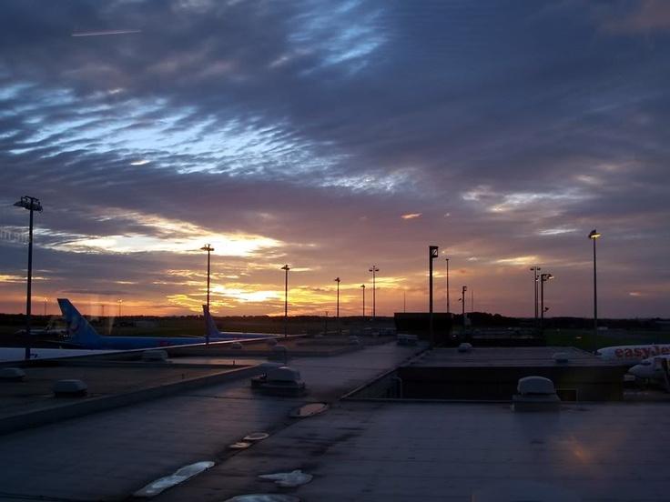 Sunrise over Newcastle Airport, September 2006.