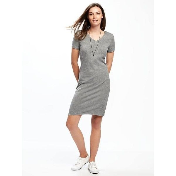 Old Navy Womens Fitted V Neck Tee Dress ($27) ❤ liked on Polyvore featuring dresses, grey, petite, old navy dresses, jersey dress, v-neck dresses, grey t shirt dress and gray t-shirt dresses