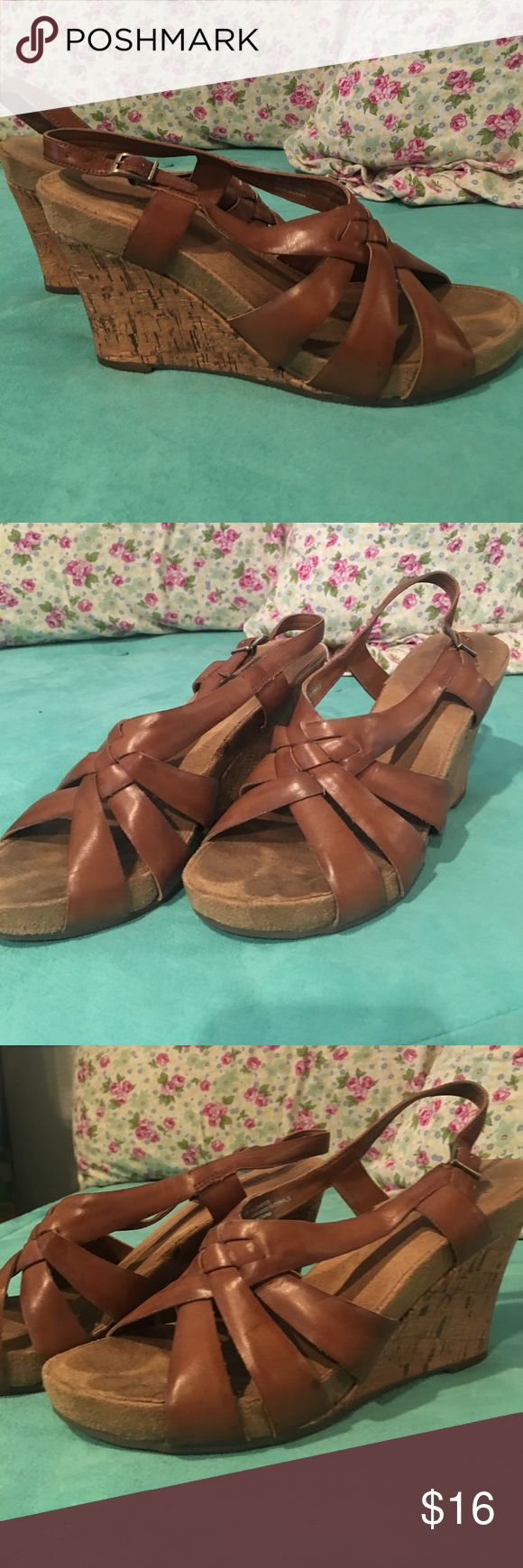 Tan wedge Aerosoles sandals Super cute and comfortable tan wedge sandals made by aerosoles. Super versatile and neutral. AEROSOLES Shoes Sandals
