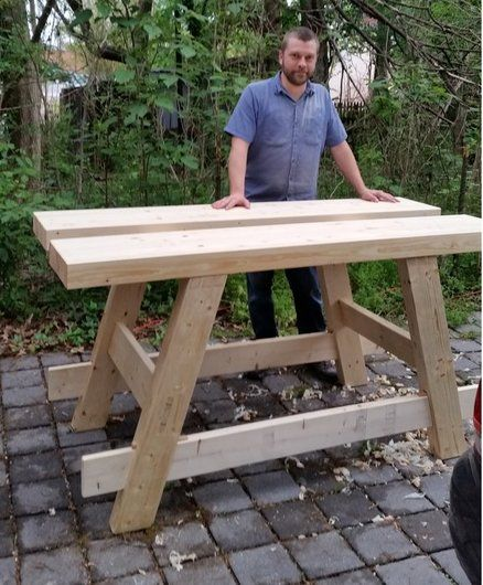 workbench from construction lumber
