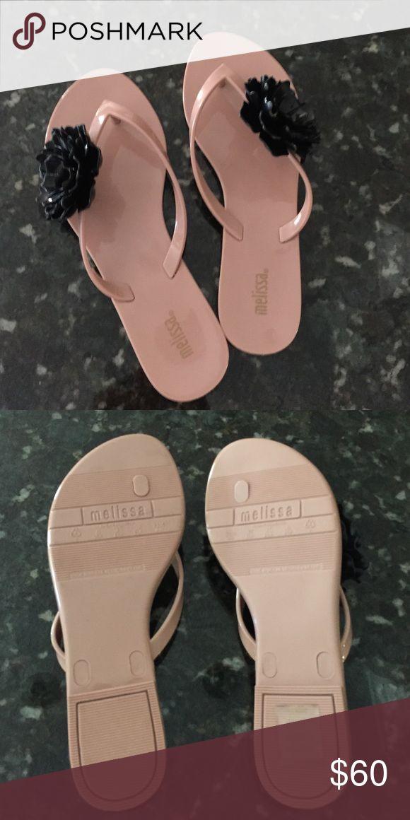 Mellissa tuner fipfops Black flower pinkish beige rubber new never worn mellisa Shoes Flats & Loafers