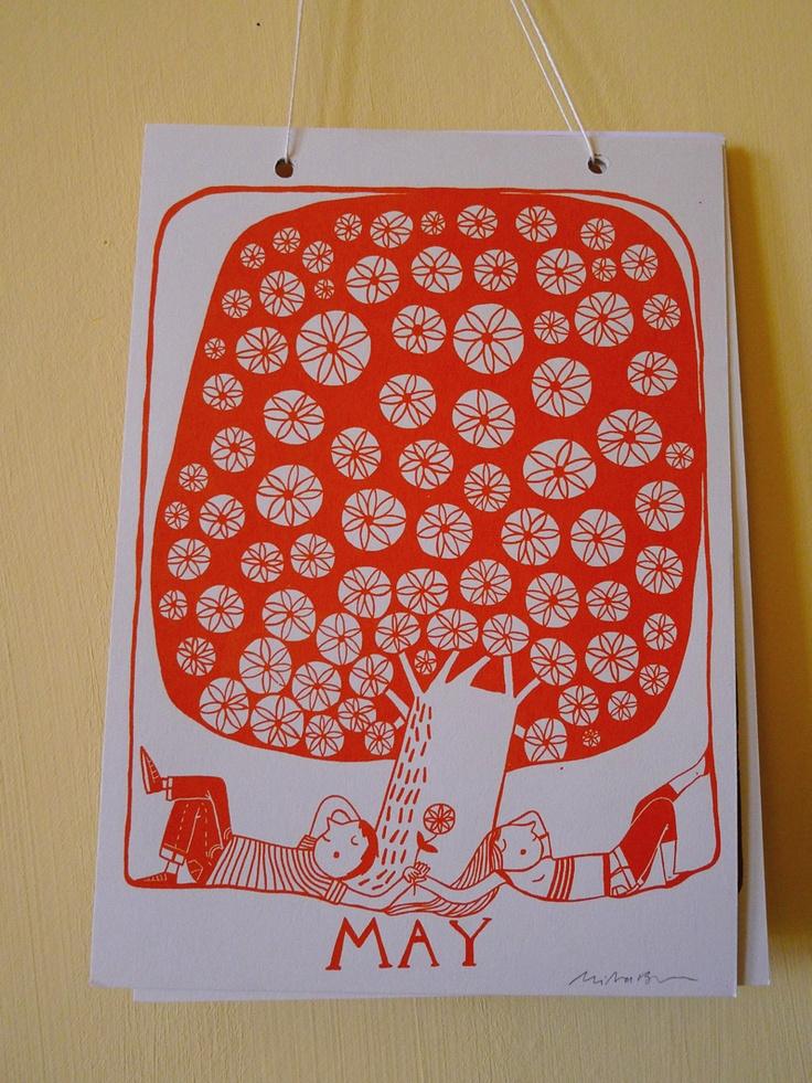Original calendario papel, ilustración naranja