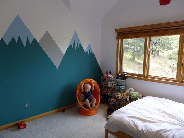 idées sur les couleurs à utiliser pour un dessin montagne géometrique stylisé dans la chambre bébé