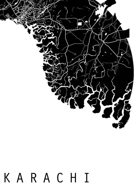 Karachi Map World Map Asia Map Pakistan Map Black And