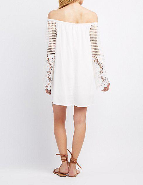 Off-The-Shoulder Crochet-Sleeve Dress