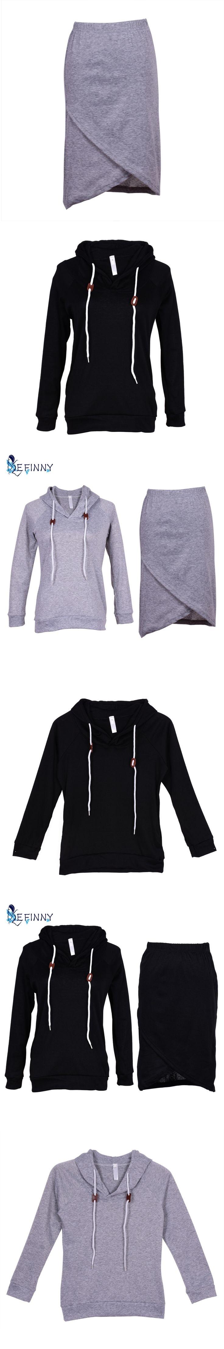 Women Clothes Sets 2PCS Autumn Activewear Suit Sweatshirt Tracksuit Tops Blouse+Skirt