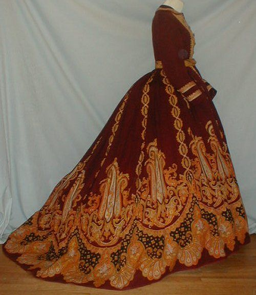 Red and Orange Formal dress worn to a wedding, ca late 1860's
