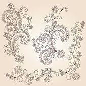 Henna mehndi paisley bloemen en wijnstokken doodle vector ontwerp — Stockvector
