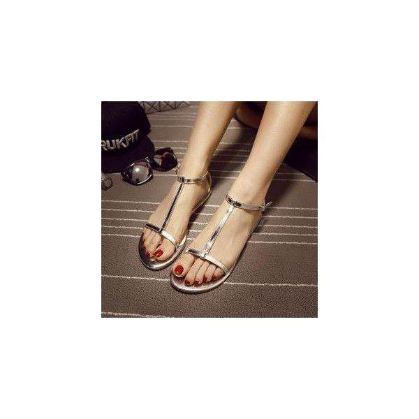 Metallic T-strap Flat Sandals (€26) ❤ liked on Polyvore