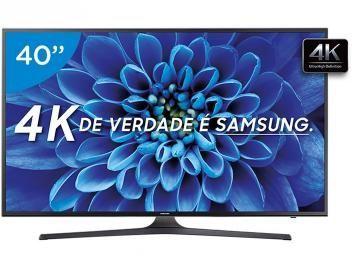 """Smart TV LED 40"""" Samsung 4K/Ultra HD 40KU6000 - Conversor Digital Wi-Fi HDMI USB Assista vídeos com a resolução UHD 4K para imagens com 4 vezes mais definição e com o novo padrão de brilho e contraste HDR Premium, para ver detalhes que nem imaginava existir. Já são milhares conteúdos em 4K nos principais aplicativos como Netflix, Youtube, Globosat Play 4K e Globo Play. Ou, se preferir, produza seu próprio conteúdo 4K no seu smartphone e assista direto na TV. Mesmo se a imagem não for 4K, a…"""