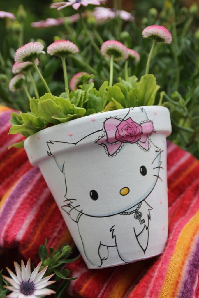 #HelloKitty #pot #decoupage #handmade
