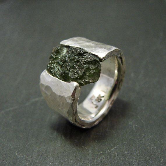 Sterling silver ring: Moldavite under Pressure wide by RRKK