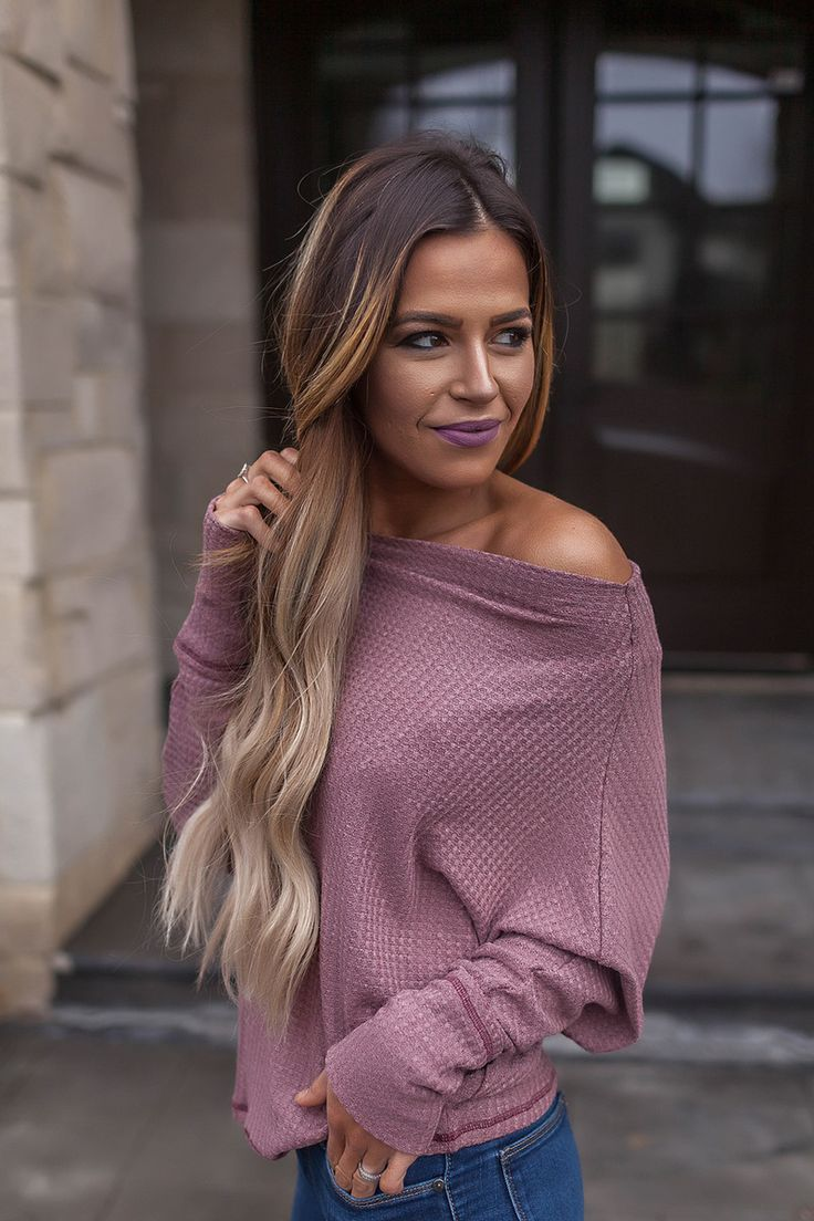 Dusty Mauve Waffle Knit Top - Dottie Couture Boutique