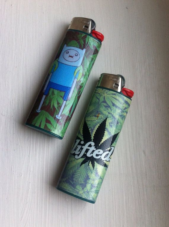 Finn Adventure Time & Weed Custom Lighter by FoxgloveCollective