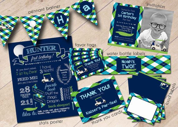 Golf Pro Shop Hole in One First Birthday Party Package by areUin