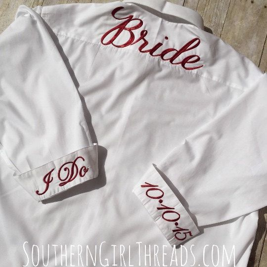 Bride Shirt for Wedding DayBridesmaids by SouthernGirlThreads
