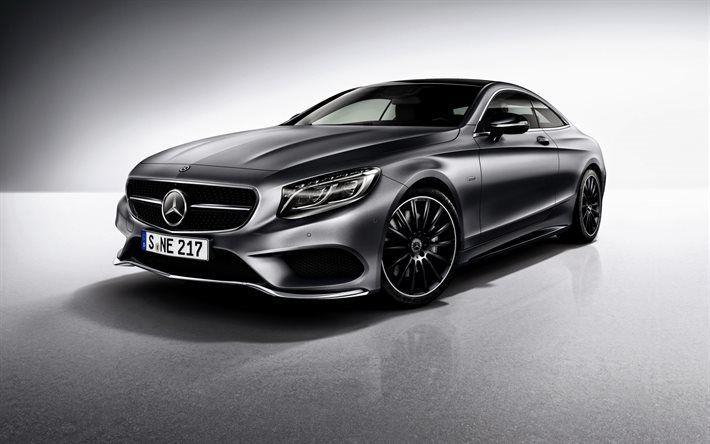 Télécharger fonds d'écran Mercedes-Benz S-Class, 2017, Coupé, C217, d'argent de Mercedes, la Classe S coupé
