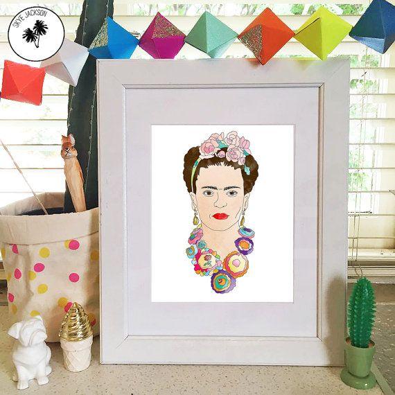 Frida Kahlo original illustration art print flowers by SkyeJack