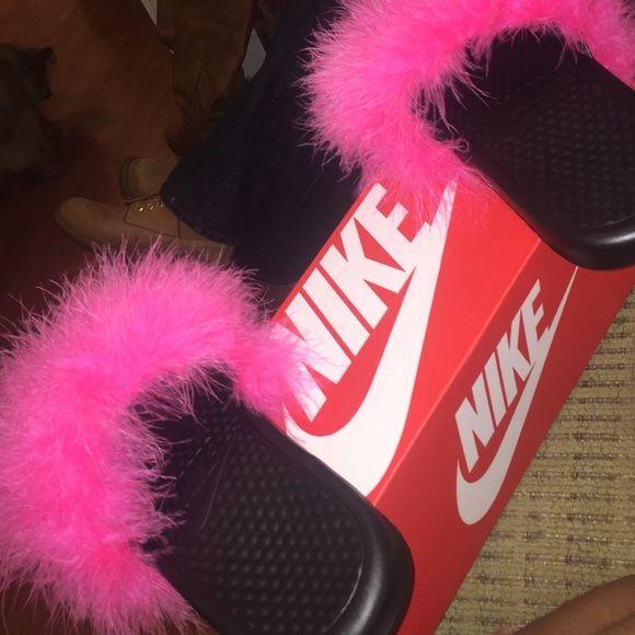Pink fur slides Brand new pink fur slides/sandals/ slippers Nike Shoes