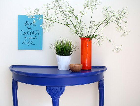Incredibile tavolo luminoso blu mogano mezza luna - dipinto a mano