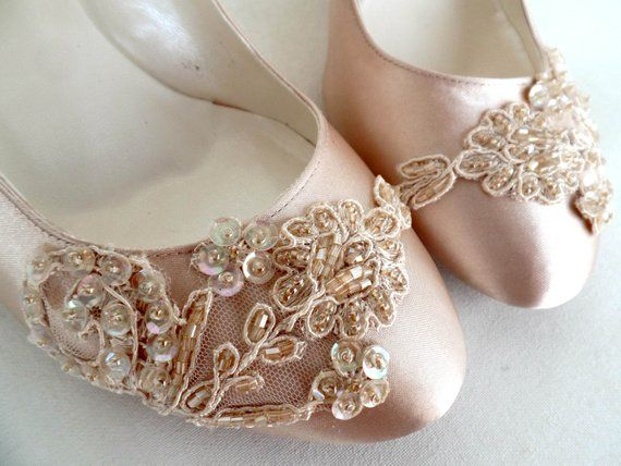 Champagne Satin Bridal Shoes with