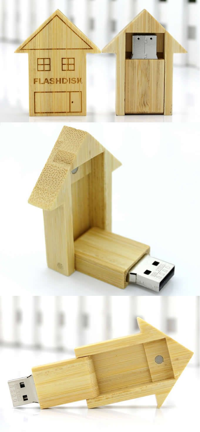 Wooden House Shaped USB Flash drive