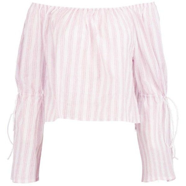 Boohoo Sally Striped Tie Sleeve Bardot Top (1,505 PHP) ❤ liked on Polyvore featuring tops, bralet tops, polka dot crop top, bralette tops, tie crop top and cami crop top