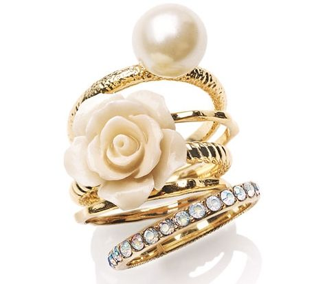 flower & faux pearl stack rings