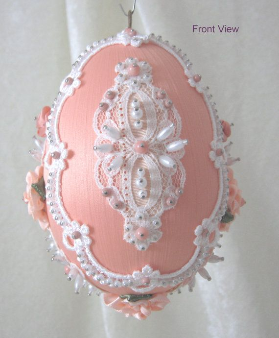 Satin Easter Egg Ornament EL110 by WhiteHawkOriginals on Etsy, $25.00