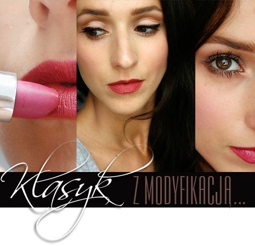 Makijaż klasyczny, czerwone usta i kreska.
