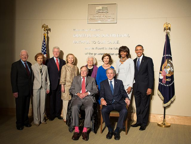 All five living Presidents of the United States  On April 25, 2013, President and Mrs. Bush commemorate the completion of the George W. Bush Presidential Center — home to the George W. Bush Presidential Library and Museum and the George W. Bush Institute. Photo by Paul Morse