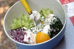 Joanne Weir cucumber feta salad.  I make this all summer and it is amazing.