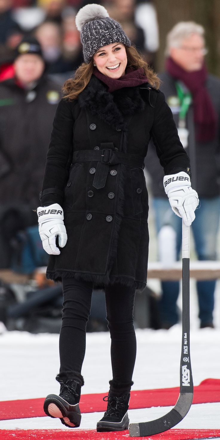 KATE MIDDLETON If you haven't noticed, all of your favorite stars are wearing Sorel boots this winter. Even pregnant Kate Middleton rocked the sturdy boots ($130; net-a-porter.com) with a Eugenia Kim beanie ($285; bloomingdales.com), and Burberry coat ($3,495; net-a-porter.com) during a game of hockey with Prince William.