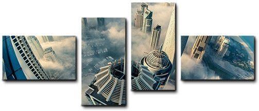 Quadro moderno 4 pz stampa su tela cm 176x74 quadri XXL arte arte skyline Dubai