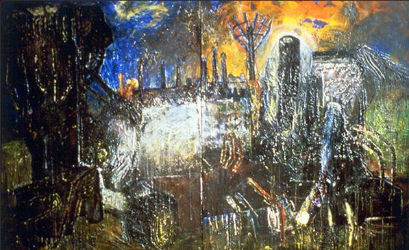 Versatran Series F. Acrylic & mixed media and canvas (diptych). 5.5x11ft. 1980s.