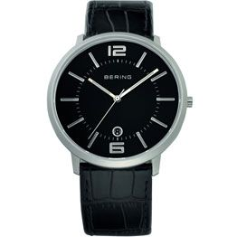 Bering Gents Black Leather Steel Watch With Black Dial (001-020-02366)