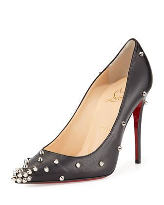 Christian Louboutin Degraspike Studded Leather Red Sole Pump, Black/Silver
