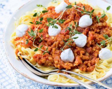 Pasta med lins- och mozzarellasås | MåBra - Nyttiga recept