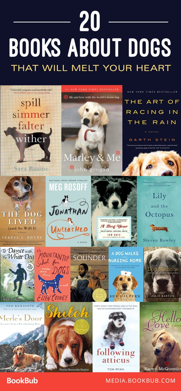 If you love dogs, check out these heart-warming books. Including Marley & Me by John Grogan.
