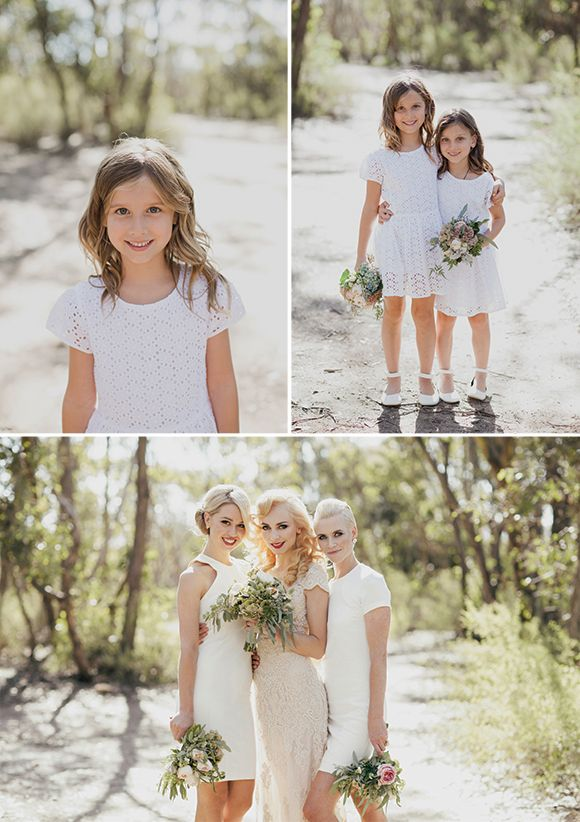 eyelet flower girl dresses and bridesmaids in white | Australian Bush Wedding by Jessica Sim